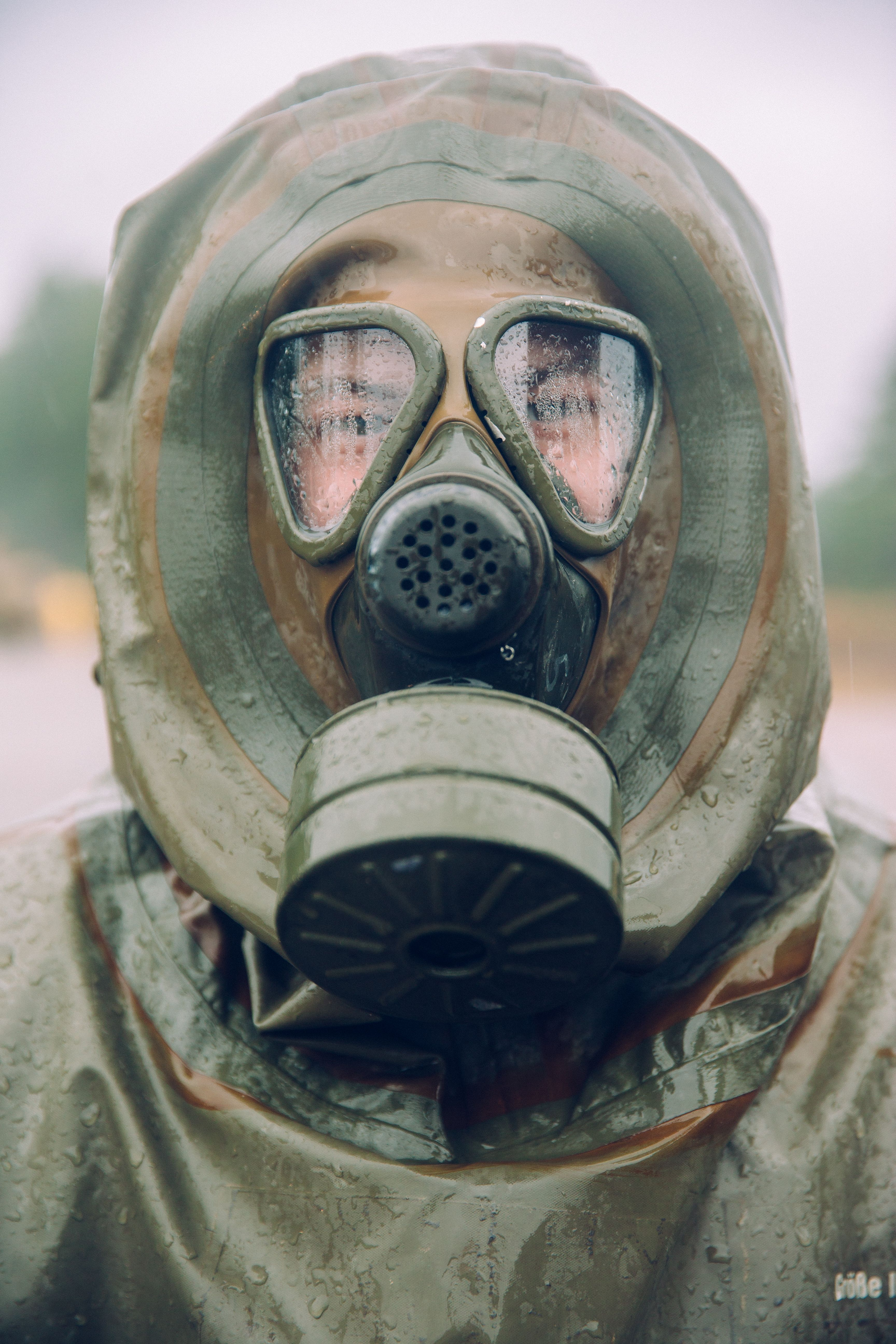 German Chemical Battalion soldier in Latvia wearing a hazmat suit