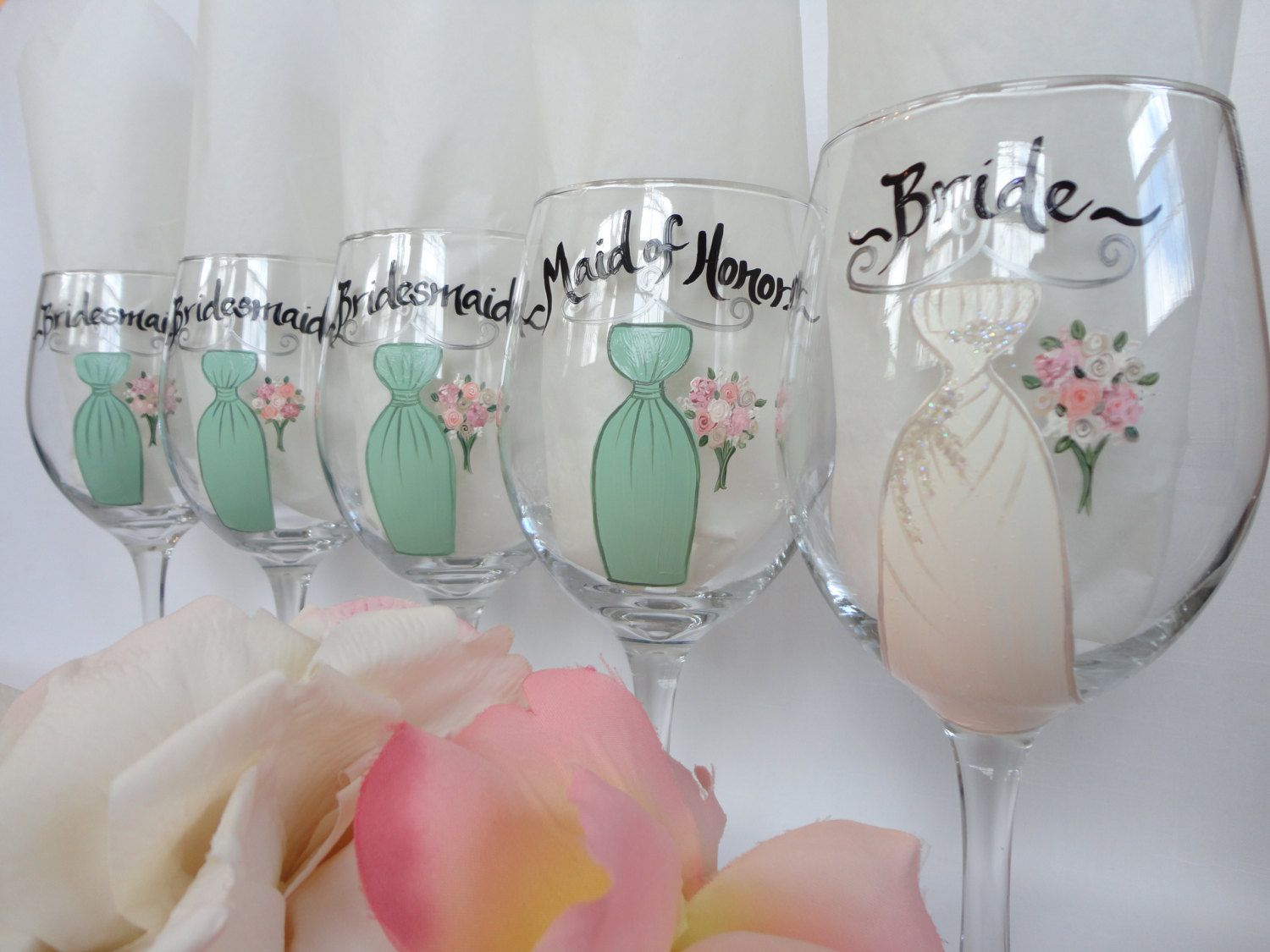 How to decorate wine glasses for bridesmaids - Personalized To Match Your Dresses Hand Painted Bridesmaid Wine Glasses Wedding Wine Glasses