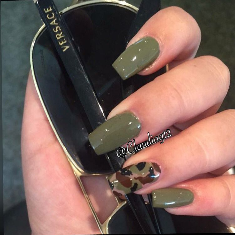Olive Green Coffin Nails Green Acrylic Nails Camouflage Nails Olive Nails