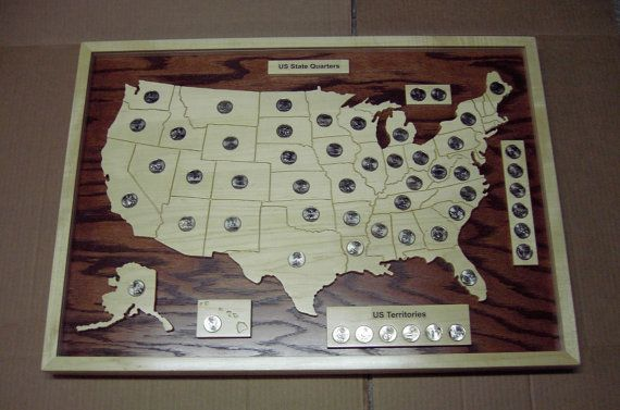 Us State Quarter Map Holder Pin on Crafts and such