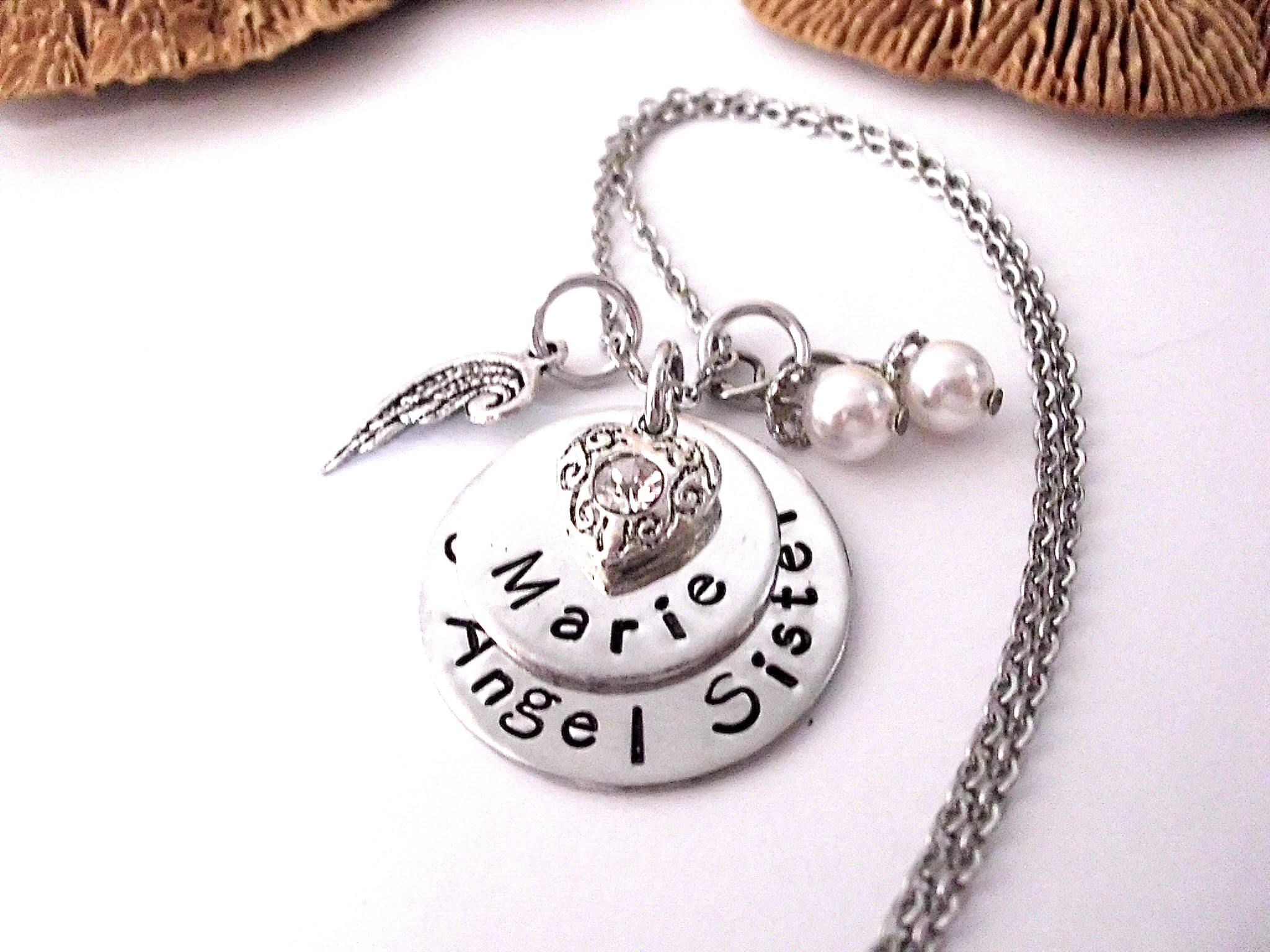 store loved necklace round steel handwriting s memorial engraved custom with your jewelry one stainless disc writing personalized own