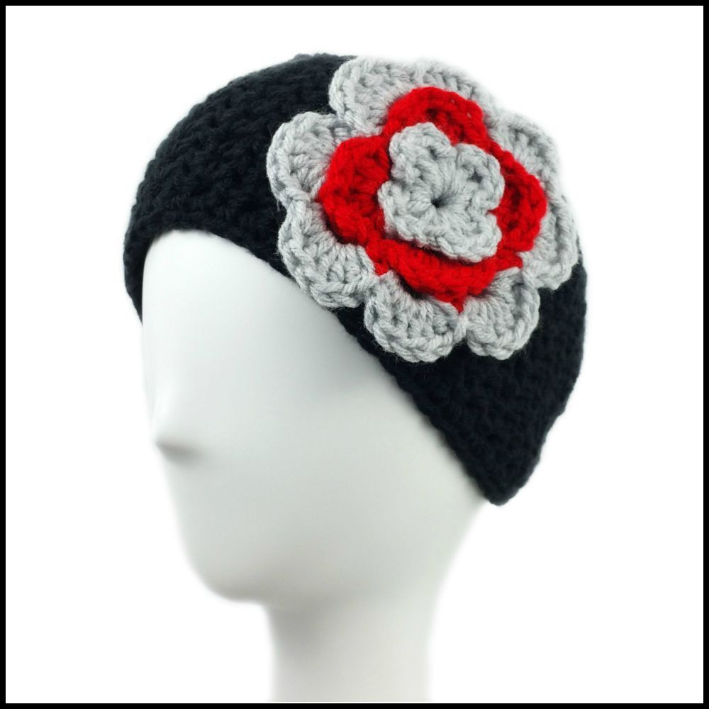 Black Earwarmer with Light Gray & Red Flower. Ohio State Buckeye crochet earwarmer. Perfect for tailgating this football season.
