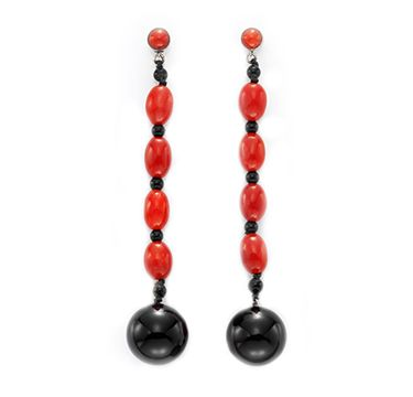 A Pair Of Art Deco Onyx And Coral Ear Pendants