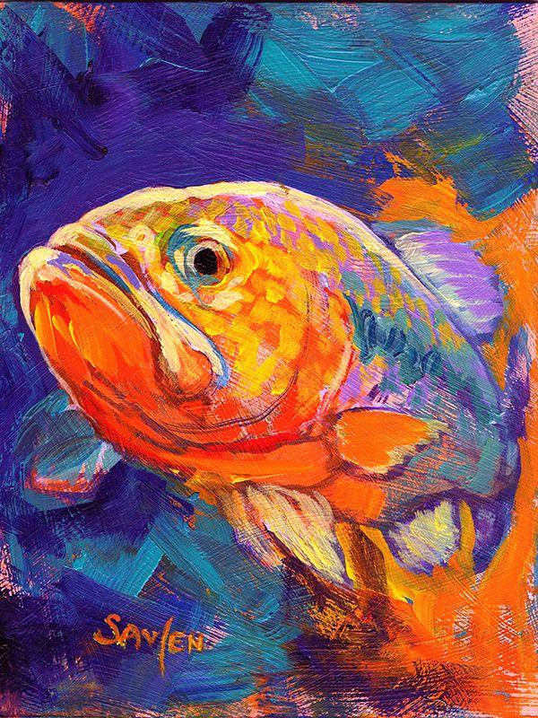 SAVLEN ORIGINAL Largemouth BASS Sport FISHING Painting ...