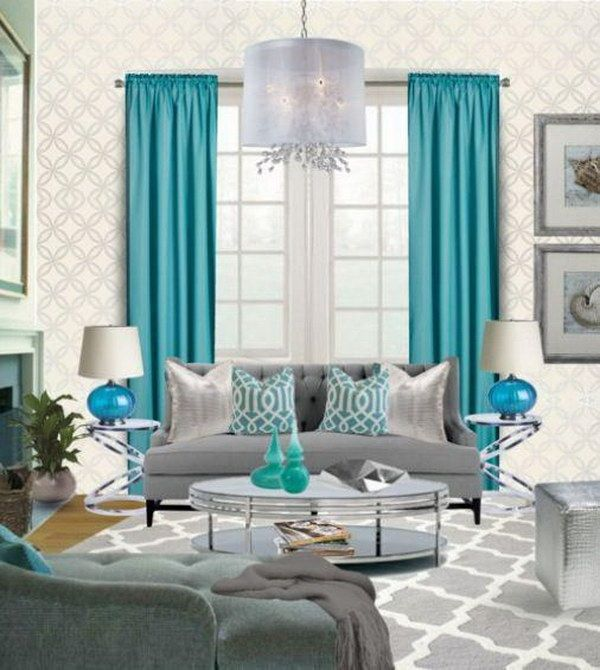 40 beautiful living room designs beach decor - Turquoise curtains for living room ...