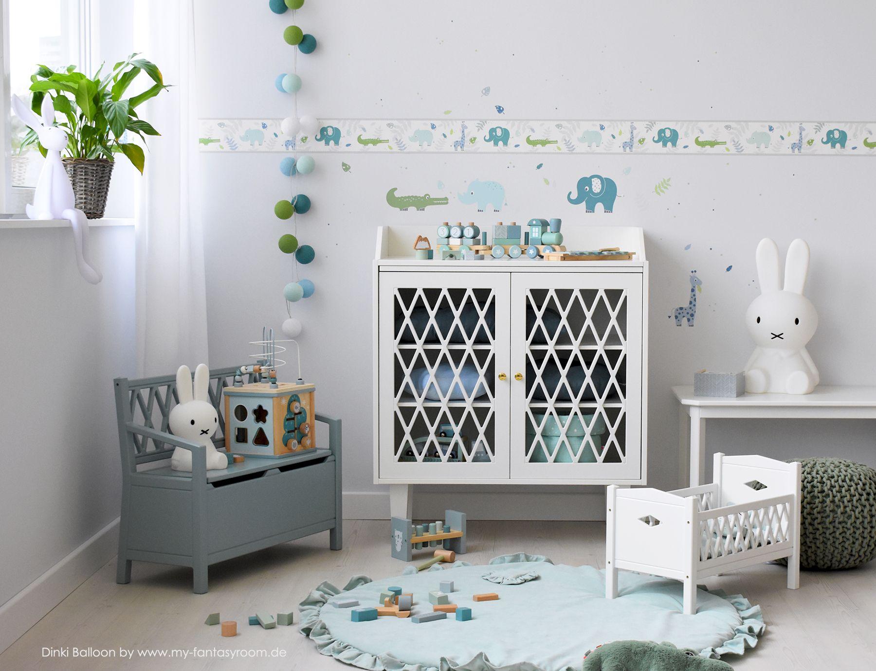 Kinderzimmer Bordüre Safari blau/jade/grün, selbstklebend