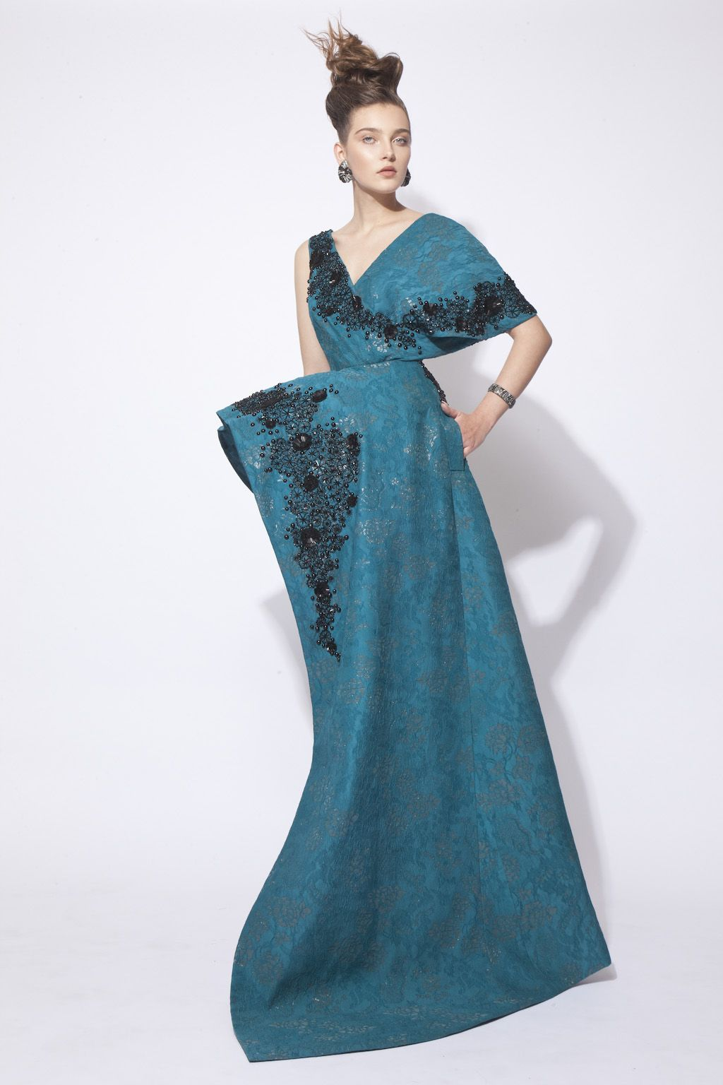 Green Hand Beaded Silk Brocade Dress