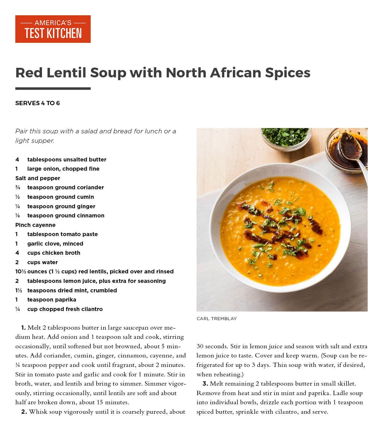 Red Lentil Soup with North African Spices from America\'s Test ...