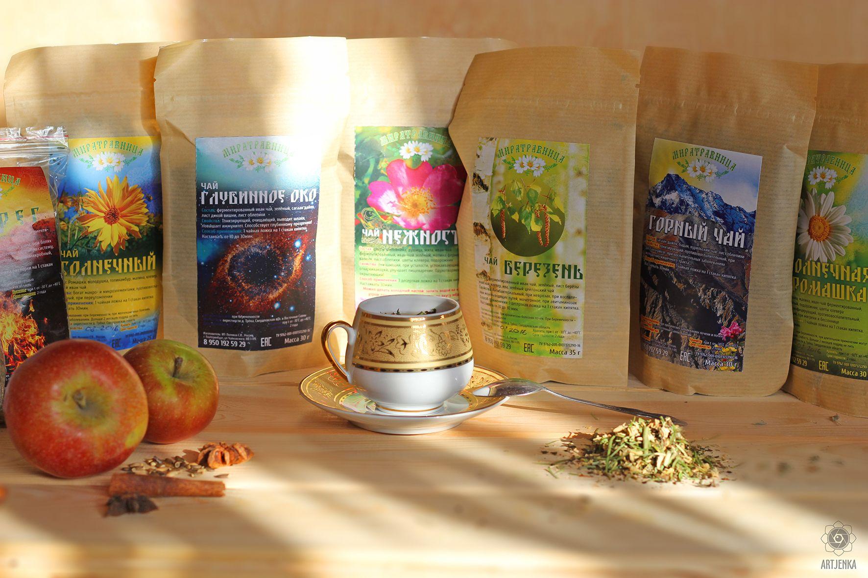 Эко-чай Миратравница, пример дизайна упаковок