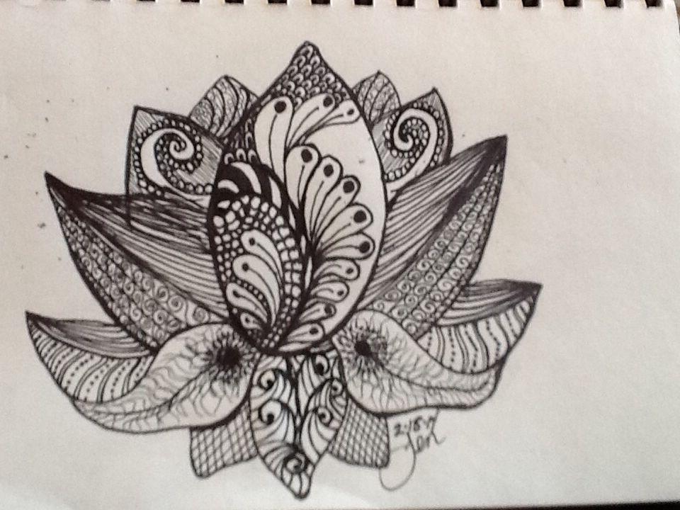 Zentangle Flower Tattoo Lotus flower doodle. #...
