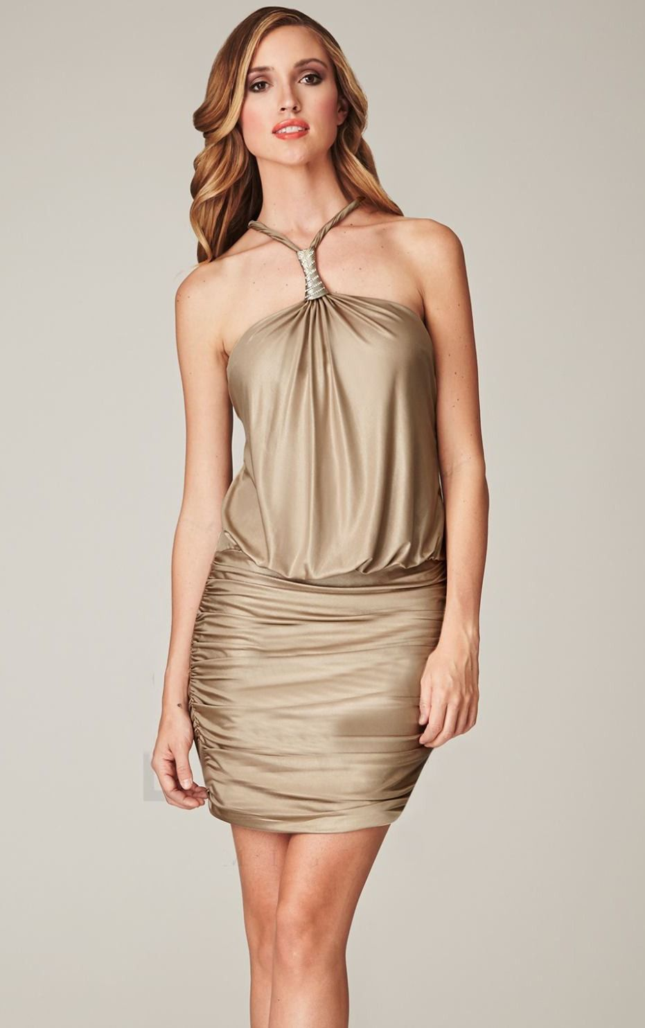 Gold halter neck wedding guest wear | itakeyou.co.uk