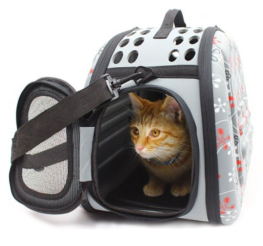 Printed Soft Sided Pet Carrier Travel Tote Bag Foldable Pet Dog Cat