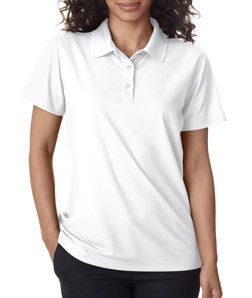 8240L Ultraclub Ladies Cool Dry Pebble Knit Polo White