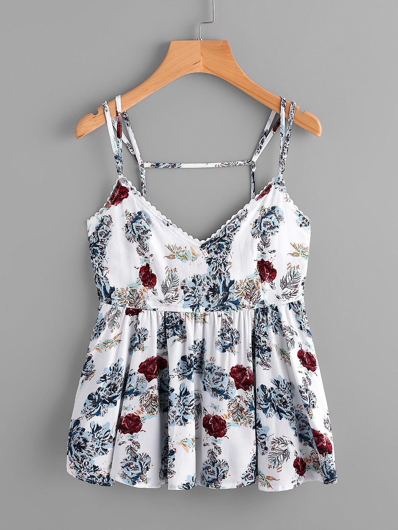 594caafeca #AdoreWe #ROMWE ROMWE Random Florals Open Back Peplum Cami Top - AdoreWe.com