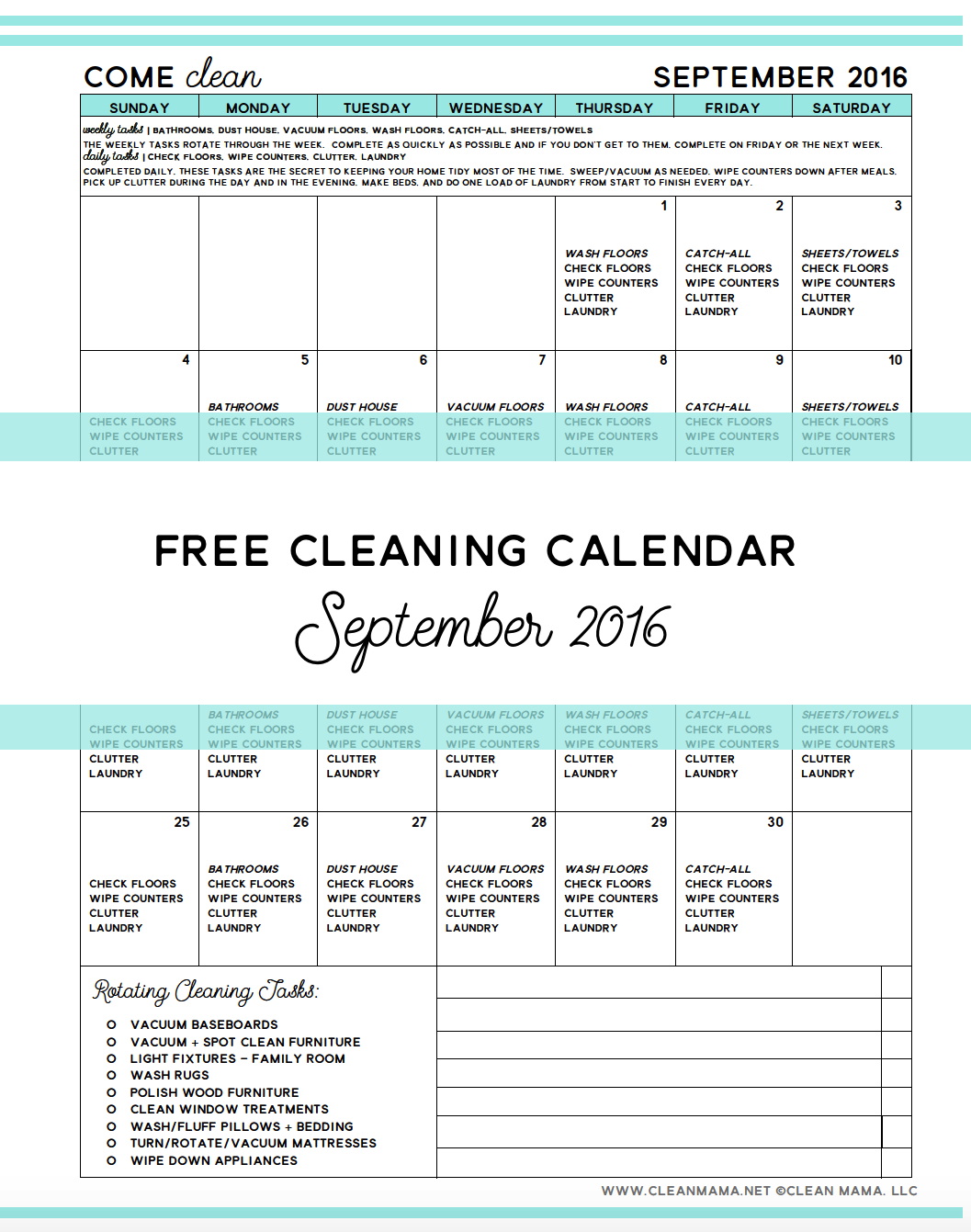 Come Clean  Free Cleaning Calendar For September   Free