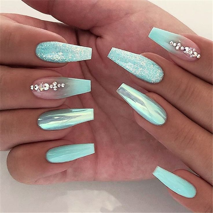 Winter Acrylic Green and Blue Glitter Coffin Nails From Nature