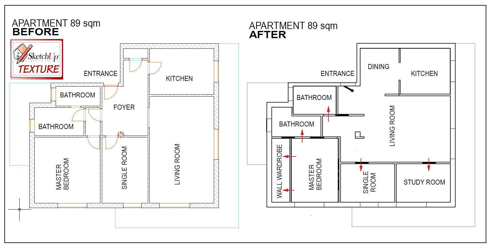 2d layout renovated apartment 89 sqm before after