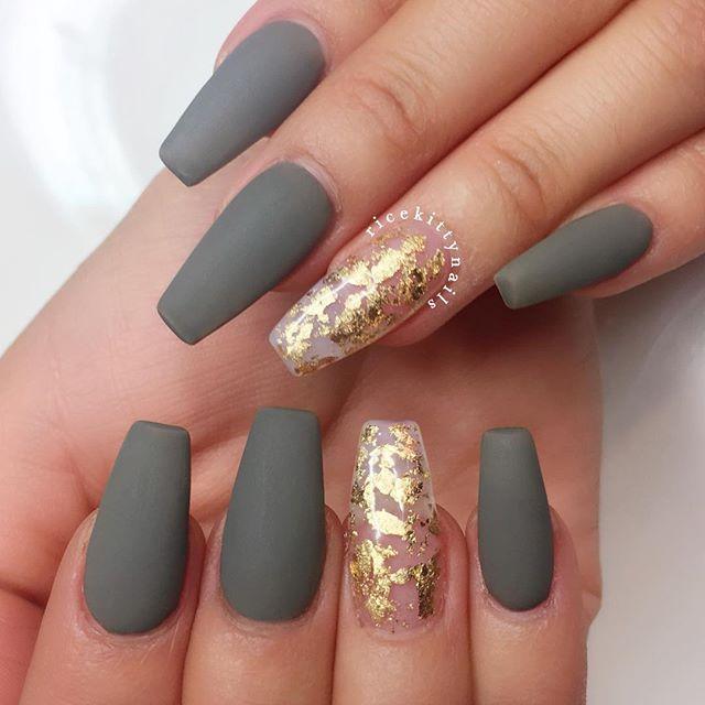 gray fall nail design