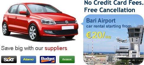We provide car rental services at Bari airport  http://www.carrentalbariairport.com