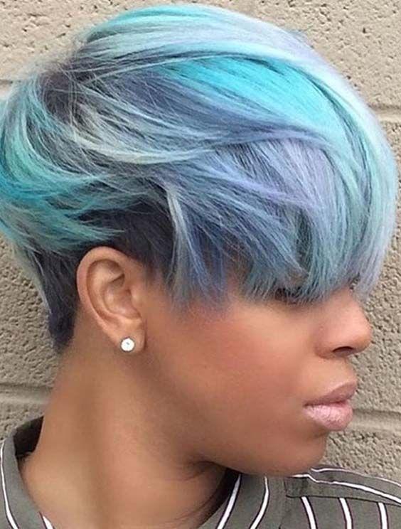 trendy short blue haircuts