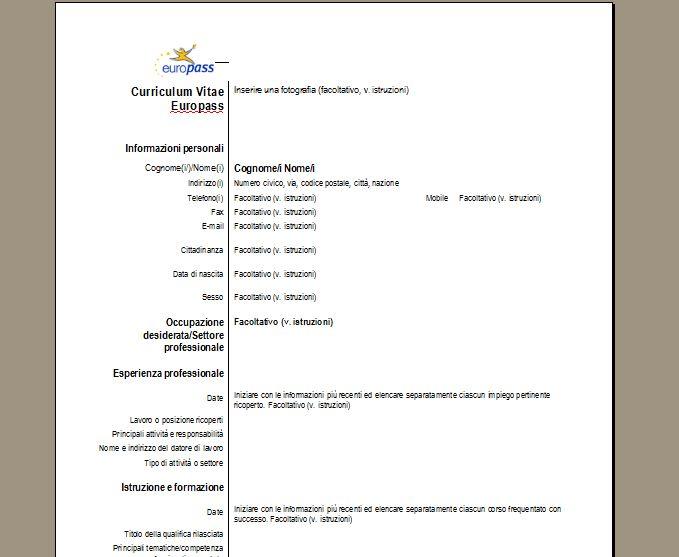Curriculum vitae europass scarica il cv treccia pinterest curriculum vitae europass scarica il cv yelopaper Choice Image