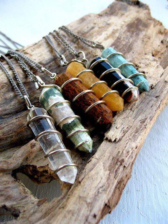 Crystal Point Pendulum Necklace by LarkinAndLarkin on Etsy. Want my birthstone (march= bloodstone)