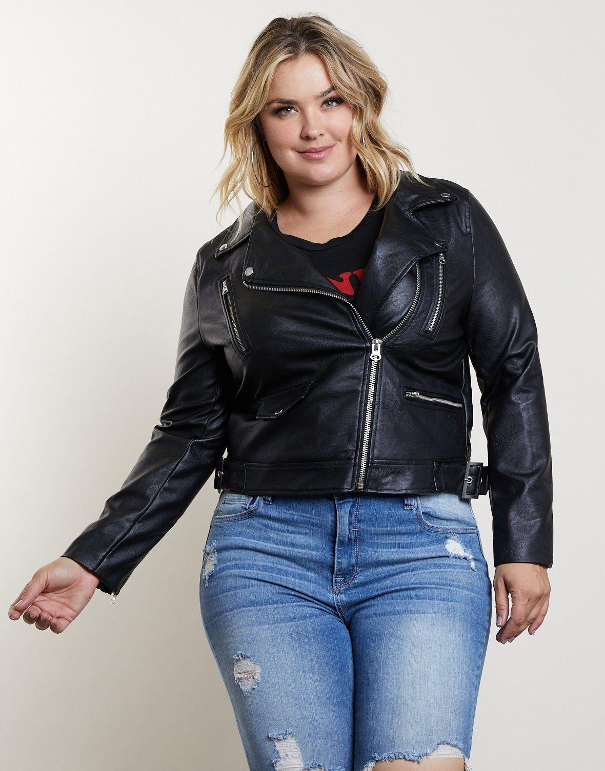 Plus Size Leather Biker Jacket Plus size leather jacket