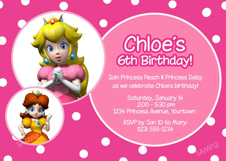 Princess Peach Invitation Mario Bros Birthday Party