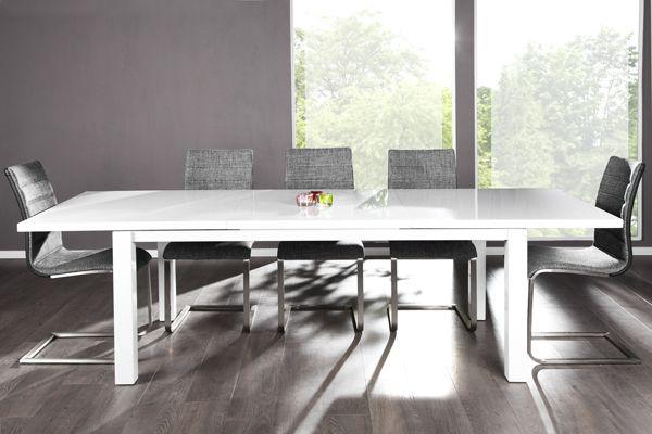 ausziehbarer esstisch arctic hochglanz weiss 180 260cm bei. Black Bedroom Furniture Sets. Home Design Ideas