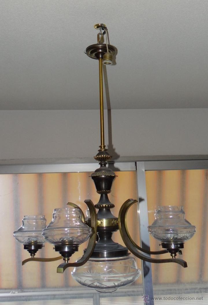 Antigua lampara art dec tard o 1940 6 luces bronce laton y cristal tallado estalcon gmail - Lamparas en valencia ...