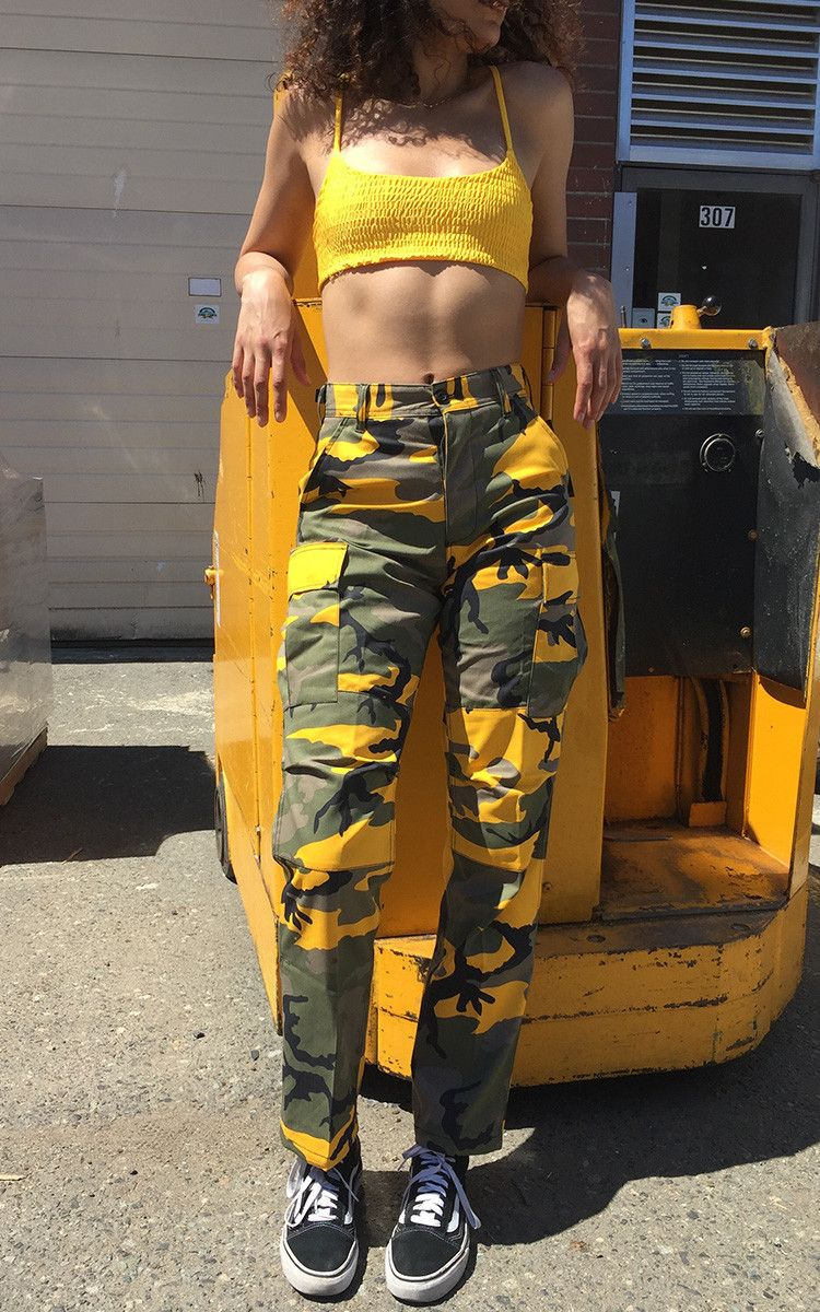 Yellow Camo Pants   Vendor  Frankie CollectiveType  BottomsPrice  59.00  Yellowcamouflauge pants featuring adjustable waist tabs button fly and  drawstring ... 2d9c0781bf