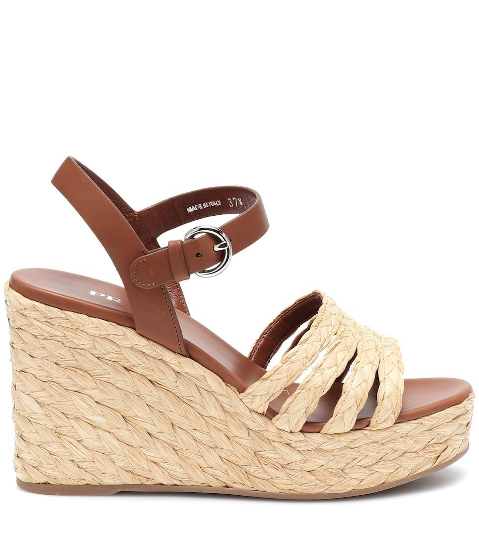 c7ef640d643 Leather espadrille wedge sandals brown beige #wedge, #espadrille ...