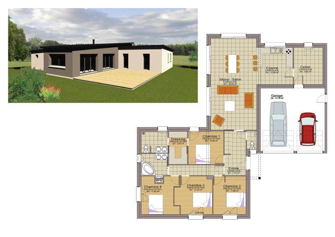 Plan maison plain pied 3 chambres 110m2 sims en 2019 plan maison plain pied plan maison et - Plan maison 110m2 plain pied ...