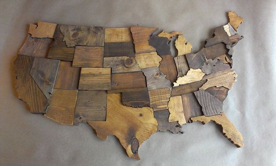 Contiguous Usa Map Wall Art Wooden State Art By Wallartwooden Maps