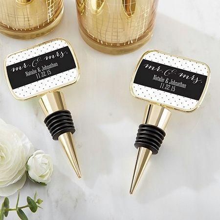Gold Wine Bottle Stopper Wedding Favors with Custom Mr. & Mrs. Design Design Labels #personalizedweddingfavors