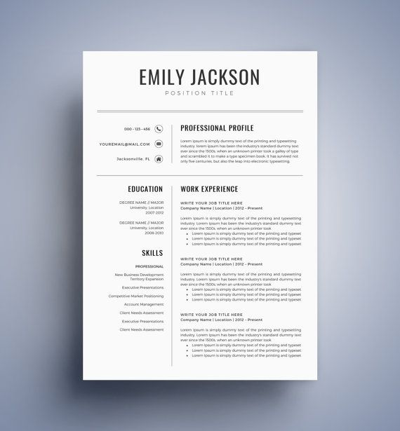 Modern Resume Template  Cv Template For Word Cover Letter Two