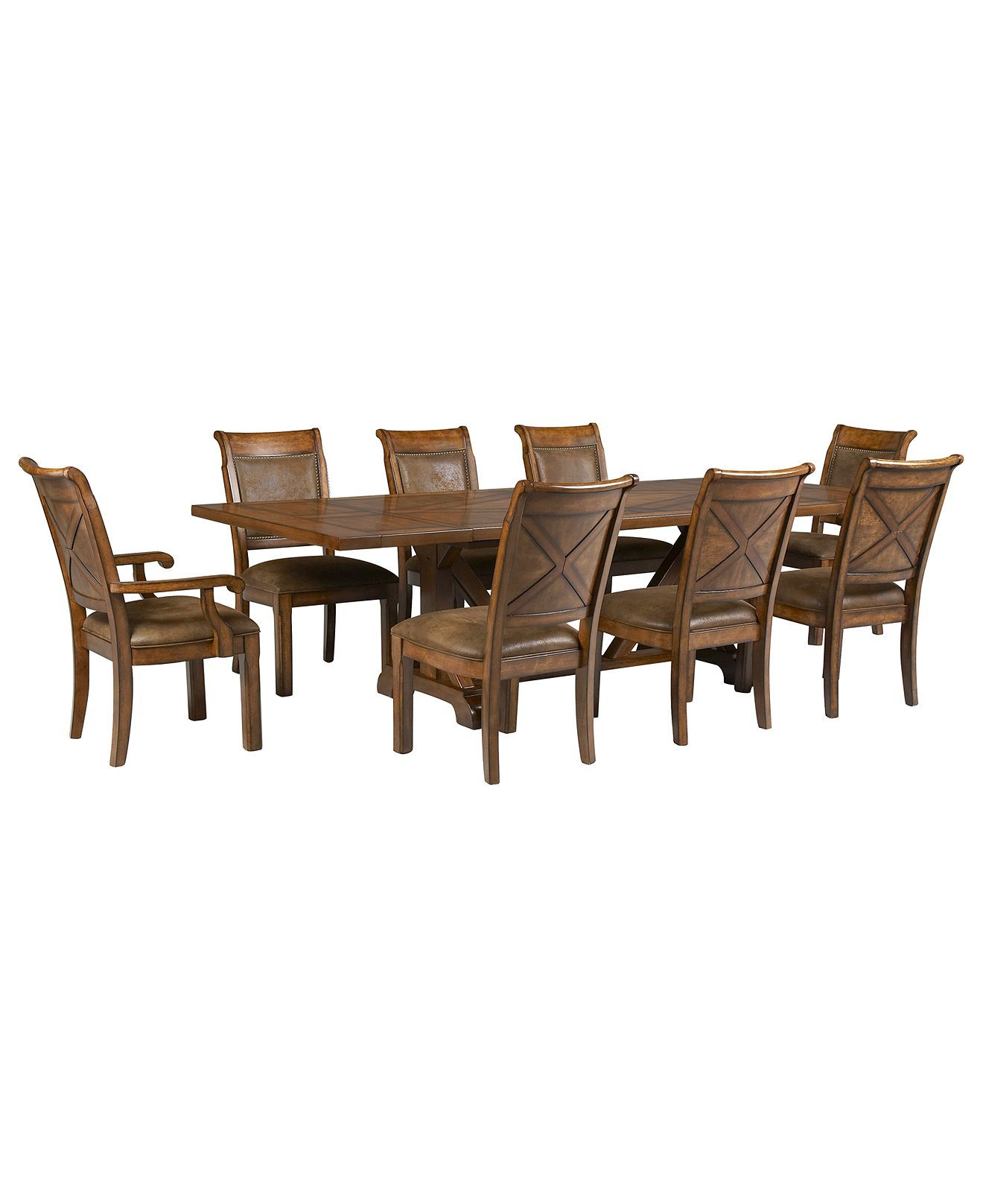 Mandara 9Pcdining Room Set Dining Trestle Table 6 Side Chairs Prepossessing 9 Pc Dining Room Sets Inspiration Design