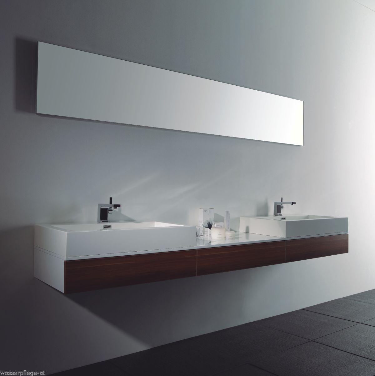 Doppelwaschtisch 225cm Badezimmer Set Weiß Nussbaum Waschbecken