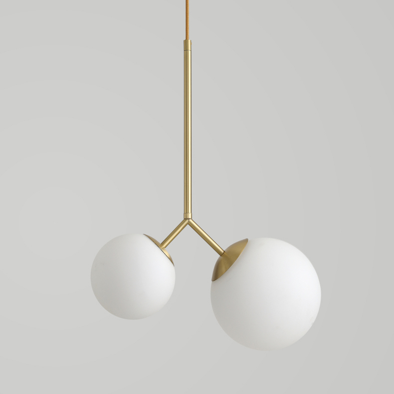 Modern Styl E 2 Light Asymmetric Glass Pendant Lamp In Brass