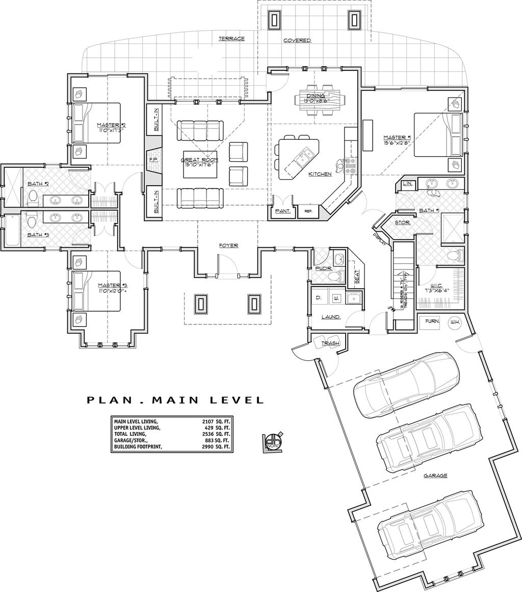 Wonderful Craftsman Style House Plan   3 Beds 4.50 Baths 2536 Sq/Ft Plan #892