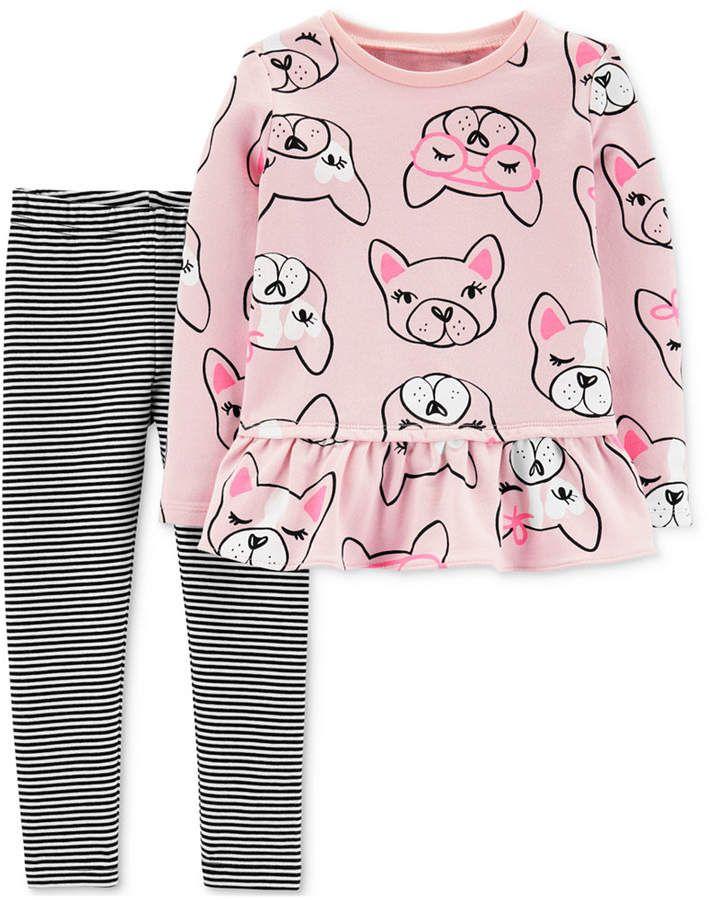 Little Girls 2-Pc. Dog-Print Peplum Tunic & Leggings Set #stripedleggings