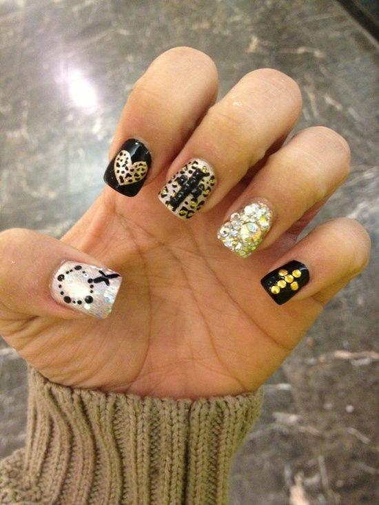 Black Gold Cheetah Cross Nails Bgvj Nailsss Pinterest Cross