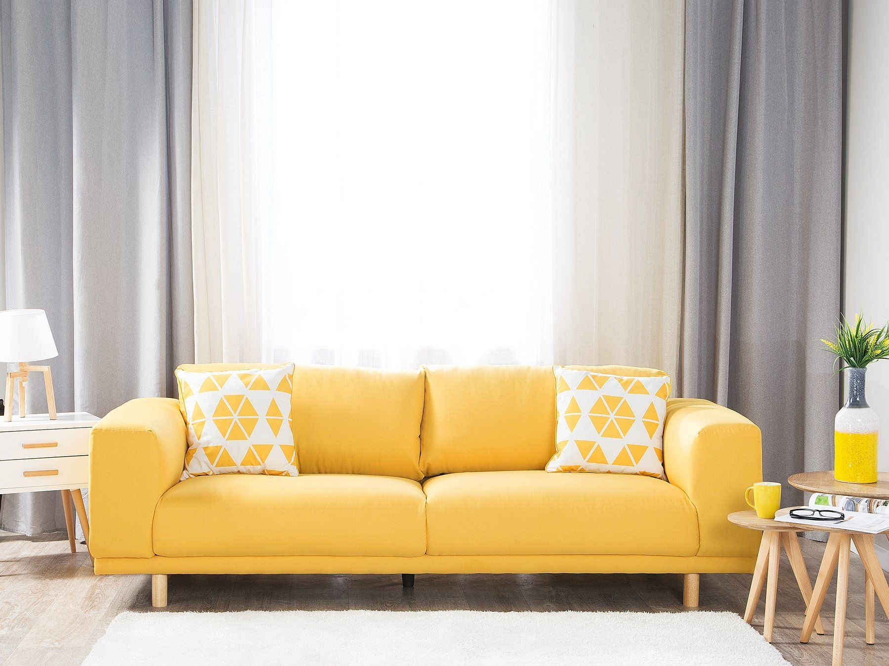 3 Seater Fabric Sofa Yellow NIVALA | Modern sofa living room, Living room  furniture collections, Fabric sofa