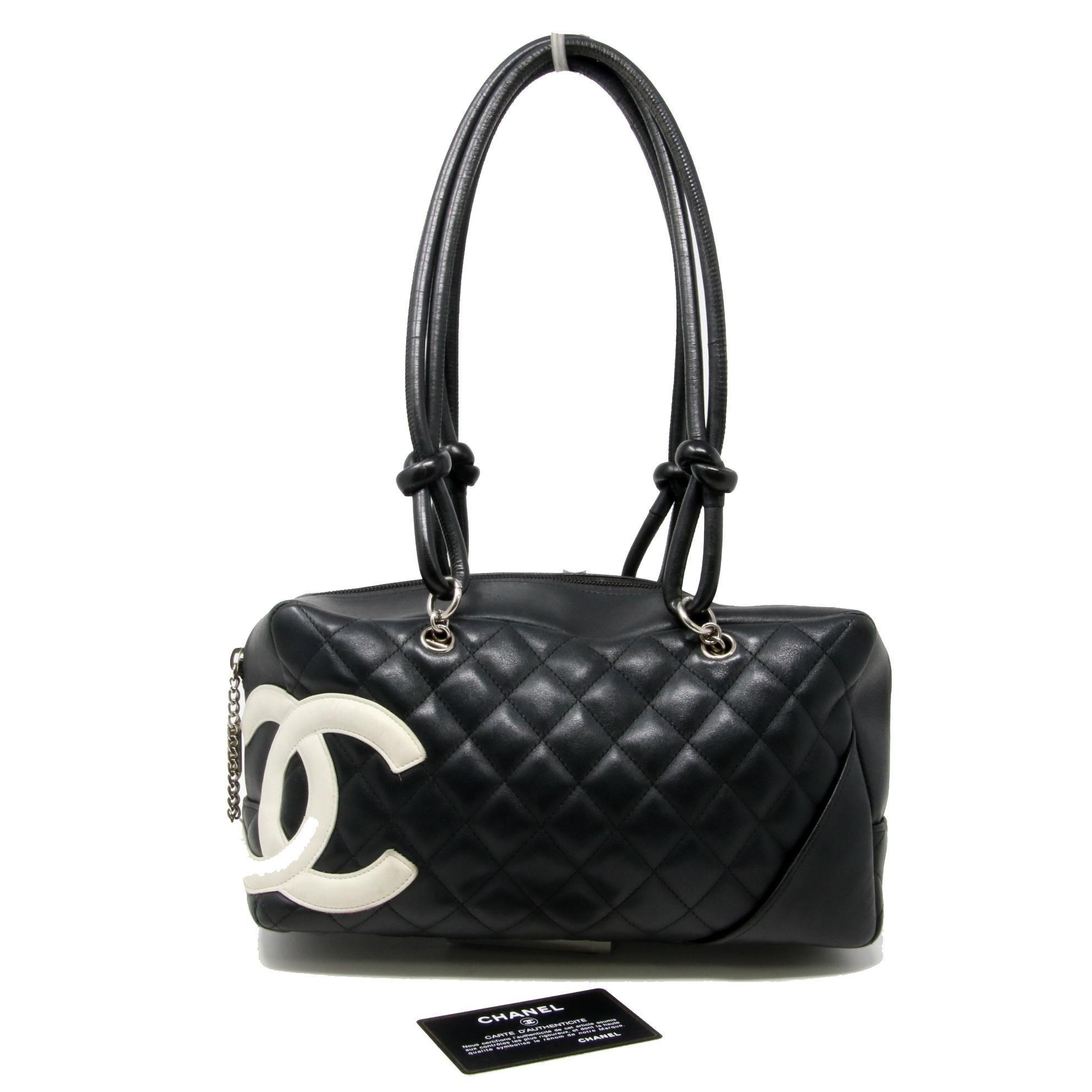 0509837f491c79 Chanel Cambon Classic Cc Diamond Quilted Ligne Mini Bowling Black Calfskin  Leather #lv #louboutin #losangeles #luxurylife #birkin #luxurybag #givenchy  ...