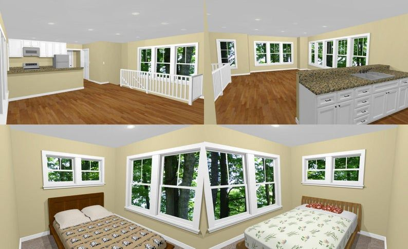 20x40 House 2 Bedroom 1 5 Bath 883 sq ft PDF Floor Plan Instant Download Model 8G