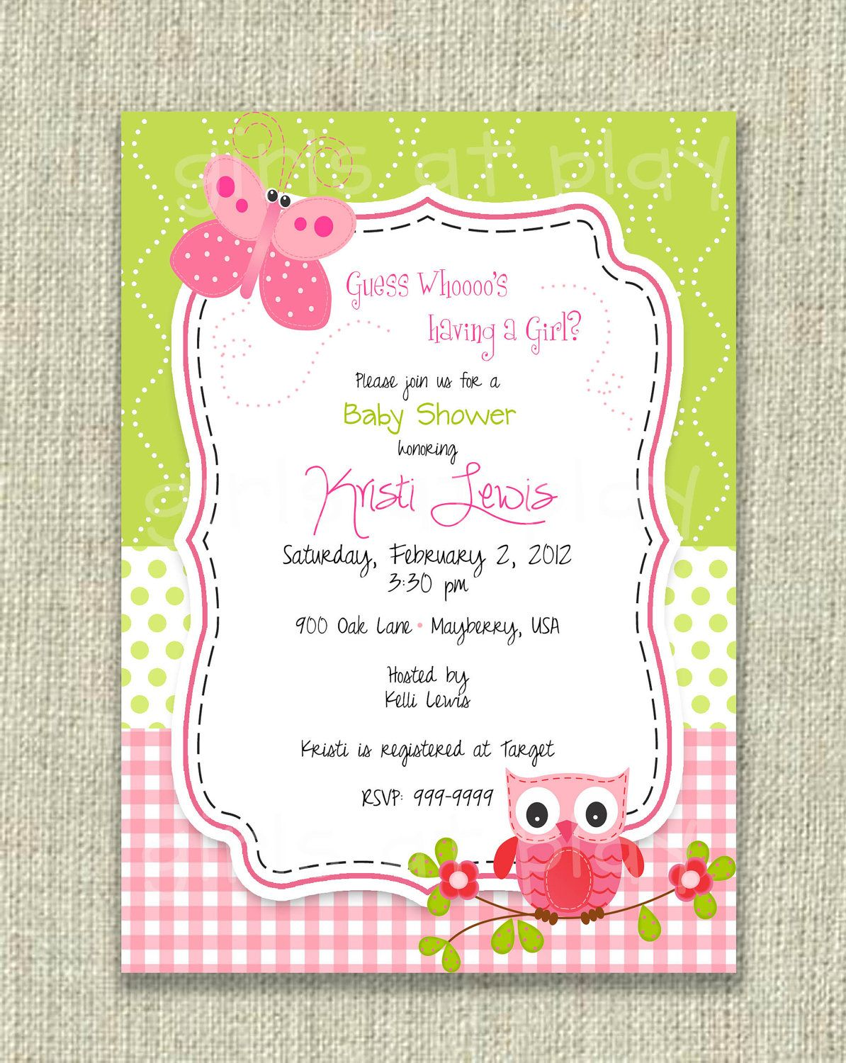 Baby Shower Girl Invitation Owl Butterfly Pink Green Birthday ...