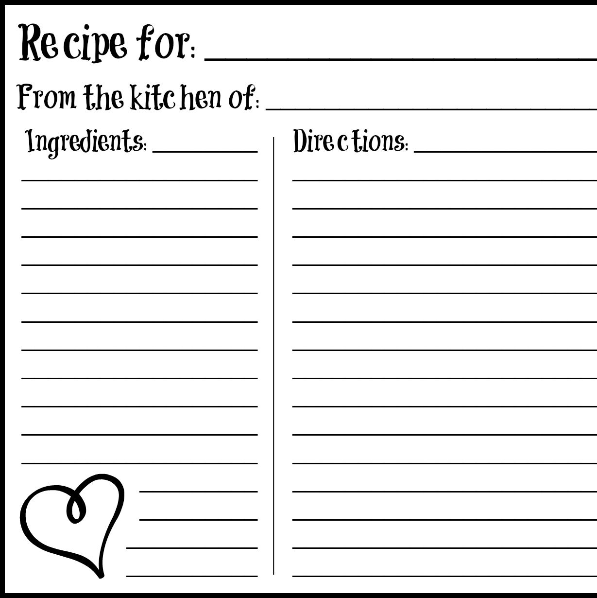 Valentine S Day 4x6 Recipe Card Free Printable Card Templates
