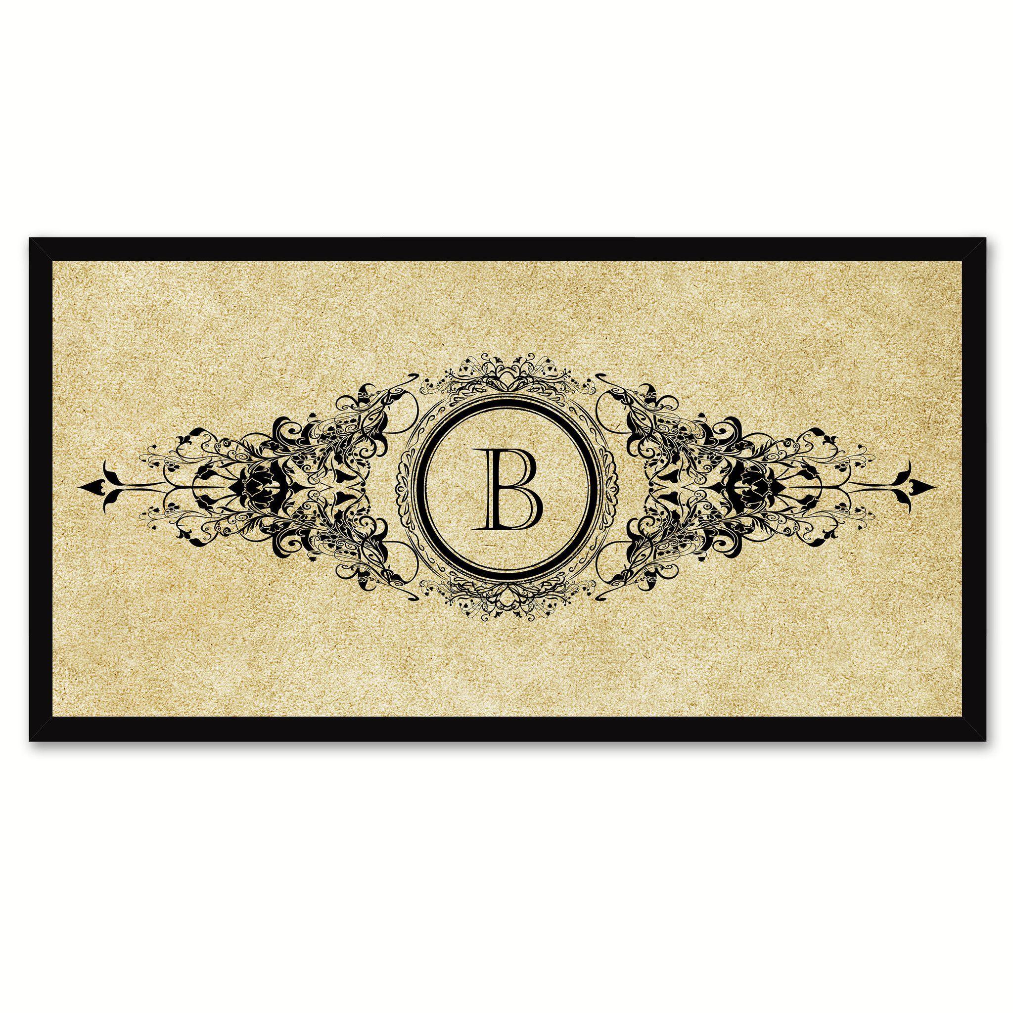 Alphabet Letter B Brown Canvas Print Black Frame Kids Bedroom Wall ...