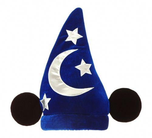 Mickey Wizard Hat - From the movie Fantasia this is a great magical wizards Mickey Mouse hat with attached Mickey ears. Officially licensed from Disney and made from a soft plush fabric with shiny trim. #wizard #mouse #yyc #costume #hat