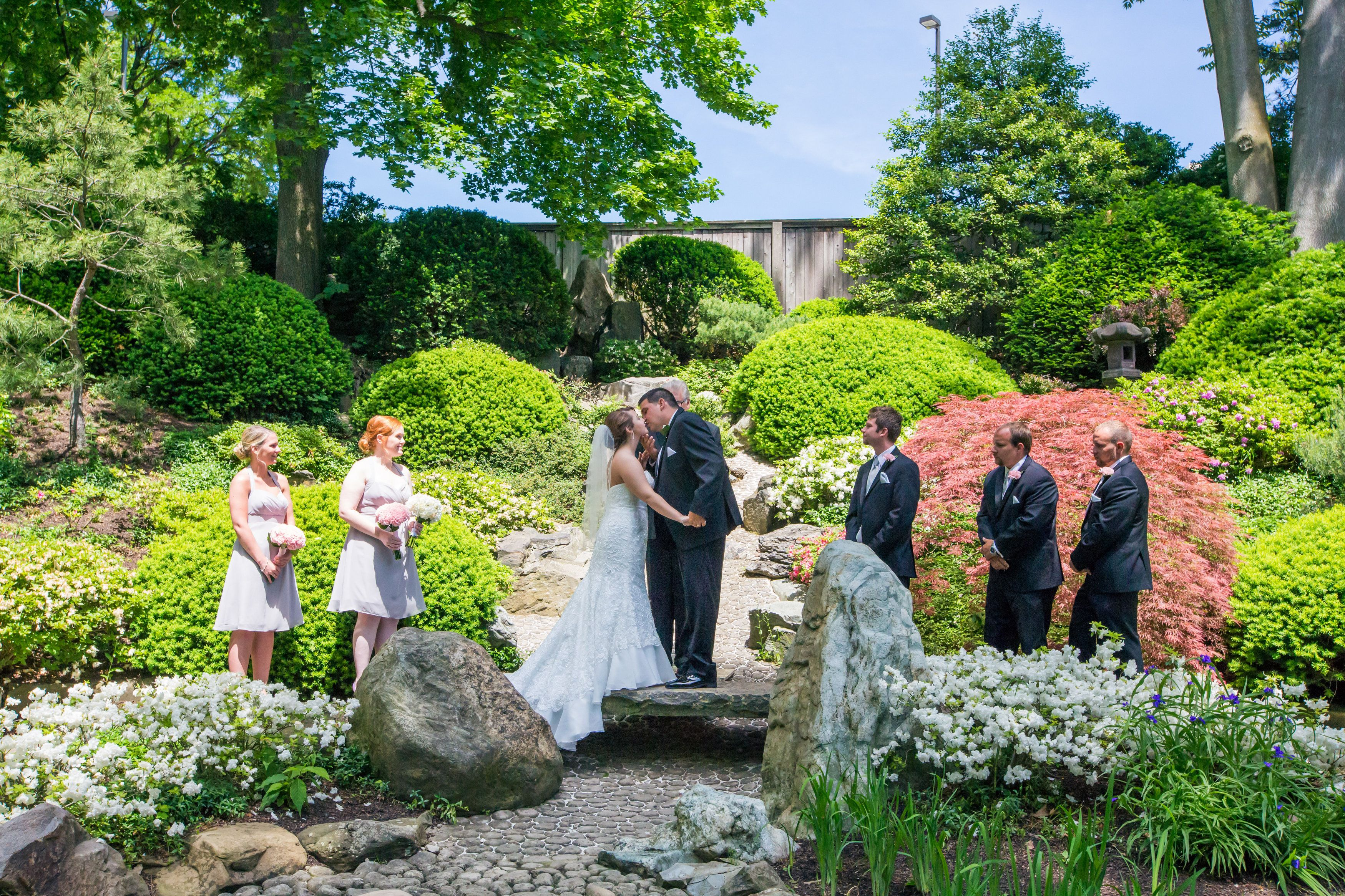 Downtown Cleveland Ohio Wedding Botanical Gardens In Japanese Garden Pink And